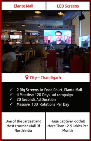 Advertise on 2 Big LED Screens Food Court, Elante Mall, Chandigarh