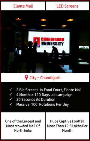 Advertise on 2 Big LED Screens Food Court, Elante Mall, Chandigarh
