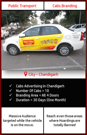 Advertising on Moving Cabs in Chandigarh, Panchkula and Mohali side View