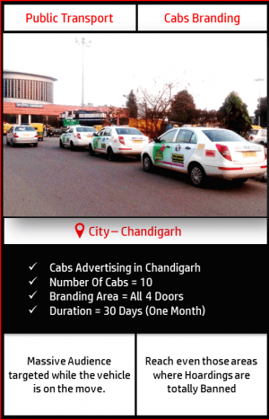 Advertising on Moving Cabs in Chandigarh, Panchkula and Mohali