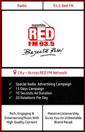 FM radio advertisement on 93.5 Red FM