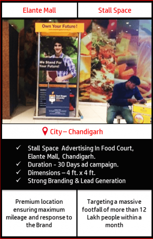 Stall space advertisement in Food court at Elante Mall, Chandigarh