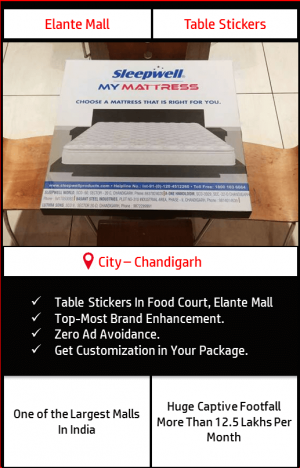 Advertisement on table sticker in Food Court, Elante Mall Chandigarh 5
