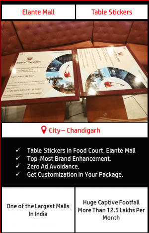 Advertisement on table sticker in Food Court, Elante Mall Chandigarh 1