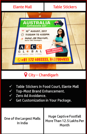 Advertisement on table sticker in Food Court, Elante Mall Chandigarh 2