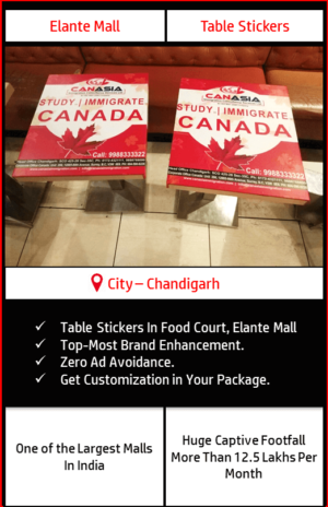 Advertisement on table sticker in Food Court, Elante Mall Chandigarh 4