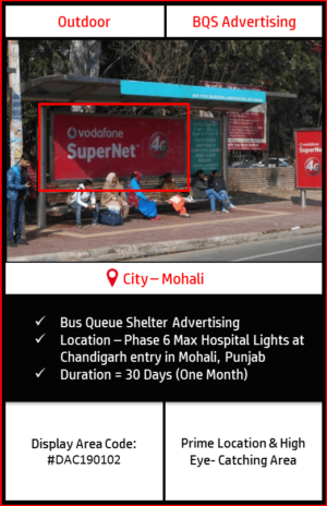 Bus Queue Shelter advertising at Phase 6,Max Hospital Lights In Mohali, Punjab (Outdoor Hoardings and Billboard Advertising)