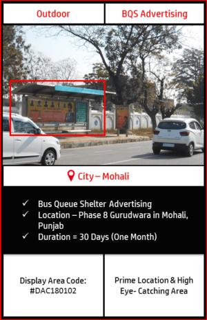 Bus Queue Shelter advertising at Phase 8 Gurudwara In Mohali, Punjab (Outdoor Hoarding and Billboard Advertising)