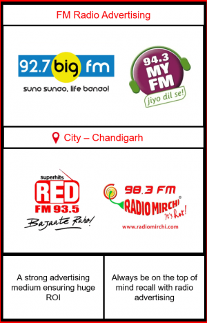 Radio advertising in Chandigarh, Panchkula and Mohali, FM Radio Advertising in Chandigarh, Radio Advertising on 927. Big FM in Chandigarh, Radio Advertising on 93.5 Red FM Chandigarh, Radio Advertising on 94.3 MY FM Chandigarh, Radio Advertising on 98.3 Mirchi FM Chandigarh