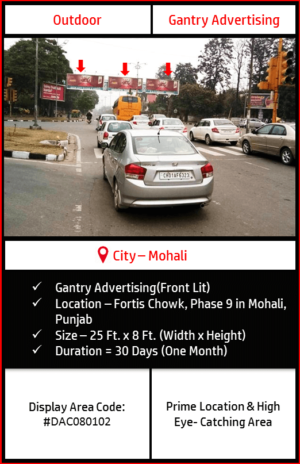 Gantry advertising at Fortis Chowk In Mohali, Punjab (Outdoor Hoarding and Billboard campaign)