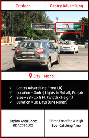 Gantry advertising at Godrej Lights In Mohali, Punjab(Outdoor Harding and billboard advertising)