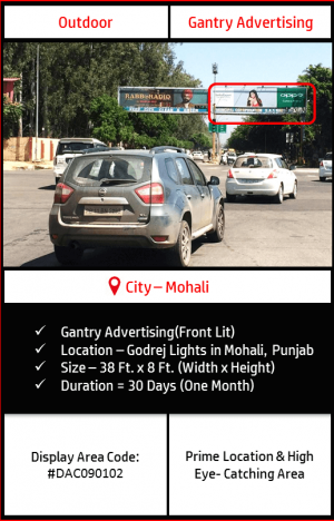 Gantry advertising at Godrej Lights In Mohali, Punjab(Outdoor Harding and billboard advertising)