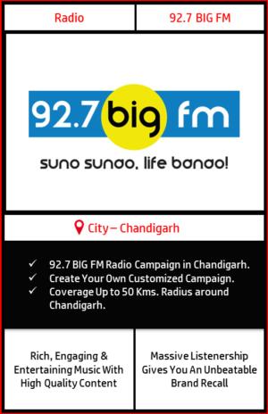 Radio advertising on 92.7 Big FM Chandigarh | FM Radio advertising in Chandigarh | Radio Ads with Best Rates in Chandigarh Tri-city | Radio Ads in Chandigarh