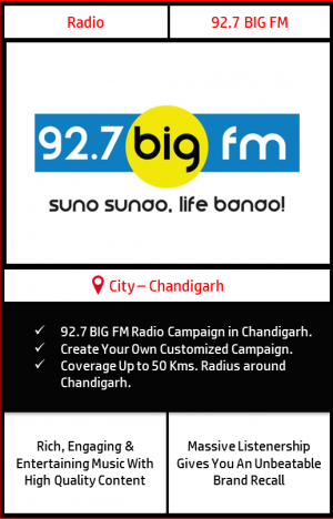 Radio advertising on 92.7 Big FM Chandigarh | FM Radio advertising in Chandigarh | Radio Ads with Best Rates in Chandigarh Tri-city | Radio Ads in Chandigarh