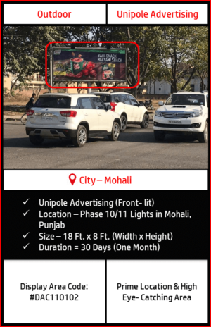 Unipole advertising at Phase 10-11 Lights in Mohali, Punjab(Outdoor Hoarding And Billboard Advertising)