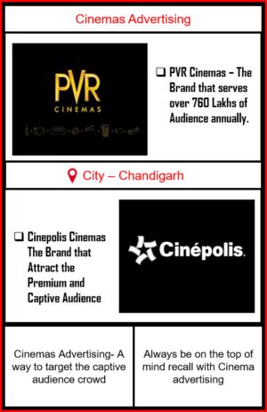 Cinemas Advertising in Chandigarh, Panchkula and Mohali | CInemas Advertising in Tri-city|Advertise in PVR Cinemas| Cinemas Ads| PVR Cinemas Ad| Cinepolis Cinemas Advertising| Advertise in Cinepolis Cinemas| Advertise in PVR Cinemas | Cinemas Advertising in panchkula | Cinemas Advertising in Mohali | Cinemas Advertising in Tricity
