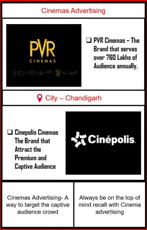 Cinemas Advertising in Chandigarh, Panchkula and Mohali | CInemas Advertising in Tri-city|Advertise in PVR Cinemas| Cinemas Ads| PVR Cinemas Ad| Cinepolis Cinemas Advertising| Advertise in Cinepolis Cinemas| Advertise in PVR Cinemas | Cinemas Advertising in panchkula | Cinemas Advertising in Mohali | Cinemas Advertising in Tricity