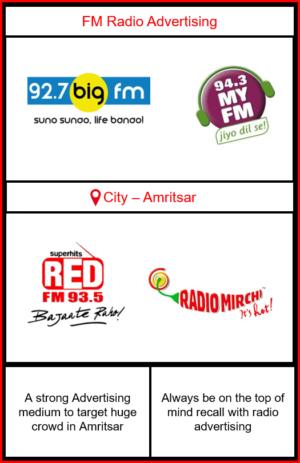Fm Radio Advertising in Amritsar   Radio Ads in Amritsar   Radio ads on Big FM Amritsar  radio Advertising on Red Fm   Radio Ads on MY FM Amritsar  Radio Ads on Mirchi FM in Amritsar   Radio Advertising in Punjab   FM Radio Advertising in Amritsar