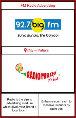 FM Radio advertising in Patiala | Radio Ads in Patiala| Patiala radio advertising | FM advertising on 92.7 Big FM Patiala| Radio Mirchi Advertising in Patiala
