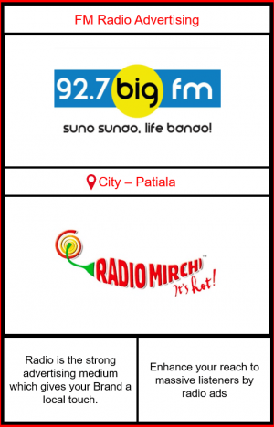 FM Radio advertising in Patiala | Radio Ads in Patiala| Patiala radio advertising | FM advertising on 92.7 Big FM Patiala| Radio Mirchi Advertising in Patiala