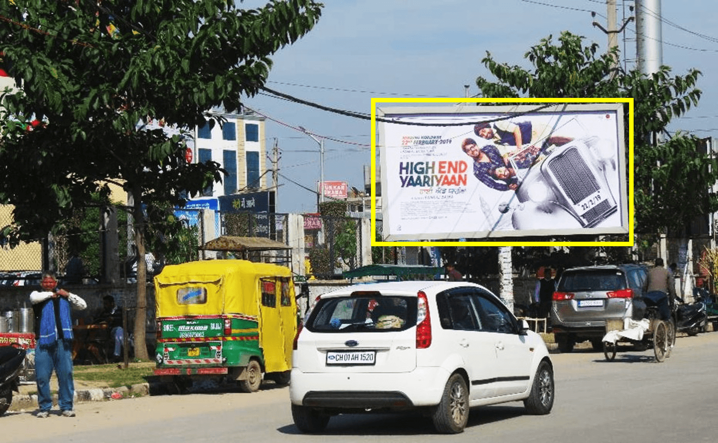 Unipole advertising at VIP Road, Metro Mall in Zirakpur, Punjab