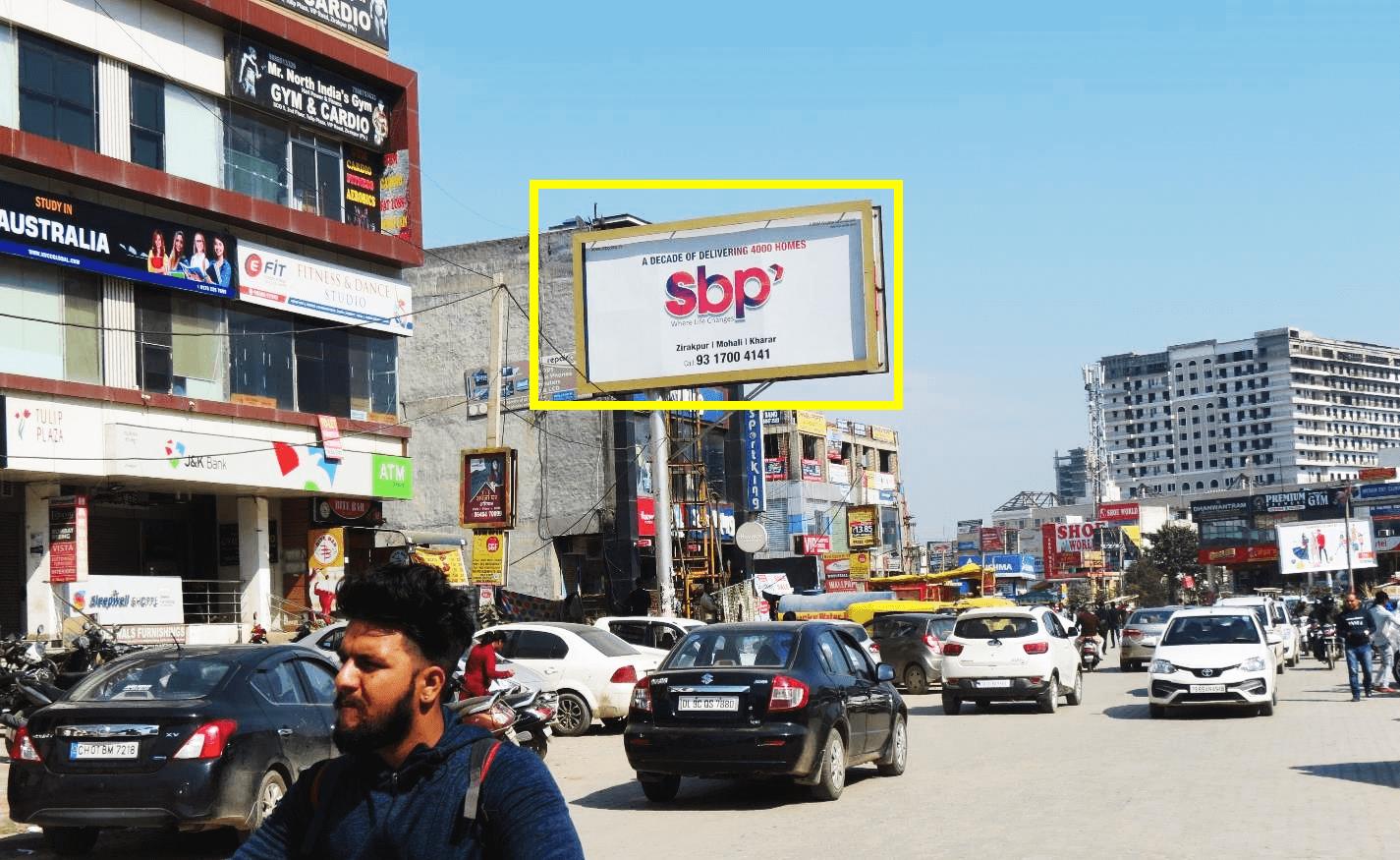 Unipole advertising at VIP ROAD J&K BANK Facing Chandigarh International Airport, Zirakpur