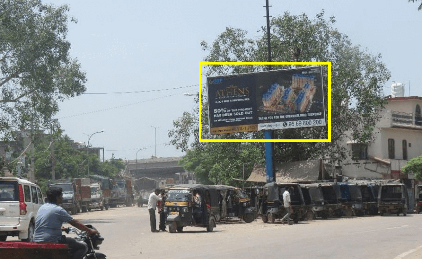 Unipole advertising at T Point Barwala Road, Derabassi
