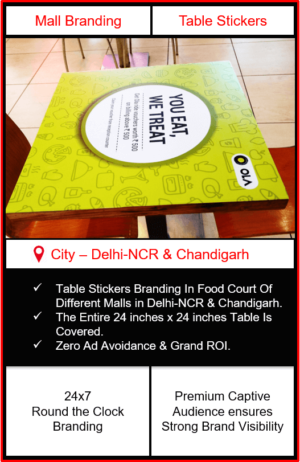 Mall Advertising in Delhi-NCR, Mall Advertising in Chandigarh, Table Stickers Branding, GIP Mall Advertising, Gardens Galleria Mall Advertising, Elante Mall Branding, Bestech Sqaure mall Advertising, Outdoor Advertising in Chandigarh, outdoor Advertising in Delhi-NCR