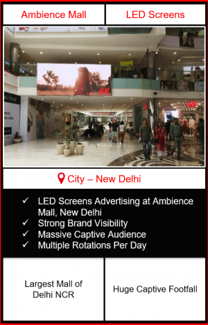 Advertising in ambience mall new delhi, big led screen advertising in ambience mall, mall advertising in delhi, digital advertising in delhi, dooh advertising in delhi