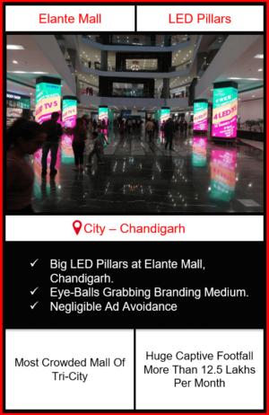 digital led pillars advertising in elante mall, led pillars advertising in elante mall, led pillars branding in elante mall, mall advertising, Digital LED Screen Outdoor Advertising in India
