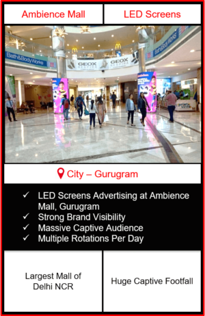 advertising in ambience mall, led screen advertising in ambience mall, digital led screen advertising in ambience mall, mall advertising in delhi, mall advertising in gurugram, Digital LED Screen Outdoor Advertising in India