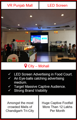 vr punjab mall advertising, advertising in vr punjab mall, led screen advertising in vr punjab mall