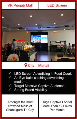 advertising in vr punjab mall, vr punjab mall advertising, led screen advertising in chandigarh, mall advertising, advertising in mall