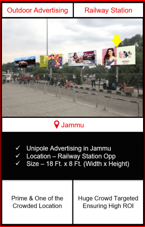 outdoor advertising in jammu, unipole advertising in jammu, railway station advertising in jammu