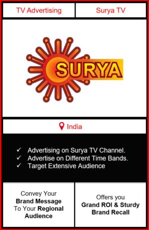 Advertising on surya tv channel, advertising on surya tv, advertising in surya tv, Surya TV Advertising, Surya TV ad