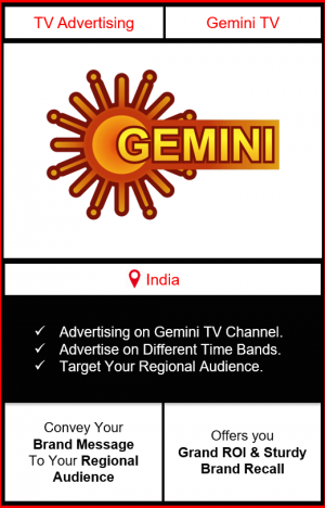 Advertising on gemini tv channel, advertising on gemini tv, advertising in gemini tv, Gemini TV Advertising, Gemini TV ad