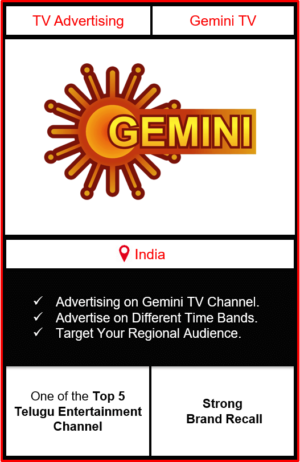 Advertising on gemini tv channel, advertising on gemini tv, advertising in gemini tv, Gemini TV Advertising, Gemini TV ad