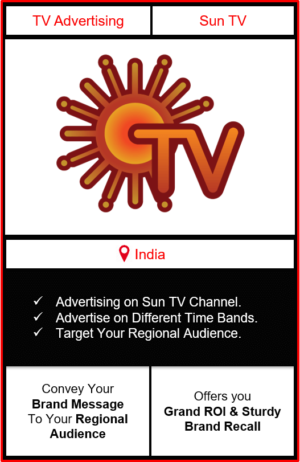 Advertising on sun tv channel, advertising on sun tv, advertising in sun tv, sun TV Advertising, Sun TV ad