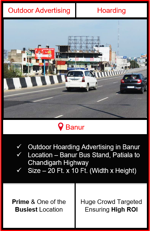 Outdoor advertising in Banur, hoarding advertising in Banur, advertising in Banur, advertising agency in Banur