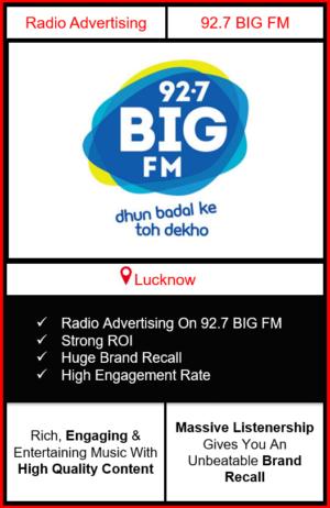 Radio Advertising in Lucknow, advertising on radio in Lucknow, radio ads in Lucknow, advertising in Lucknow, 92.7 BIG FM Advertising in Lucknow