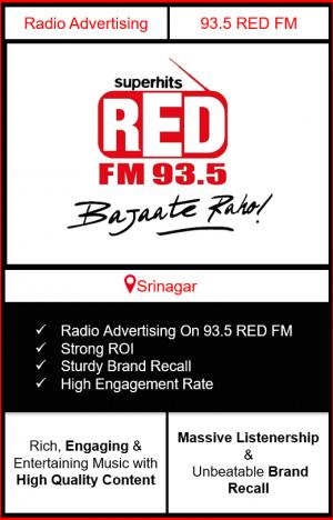 Radio Advertising in Srinagar, advertising on radio in Srinagar, radio ads in Srinagar, advertising in Srinagar, 93.5 RED FM Advertising in Srinagar