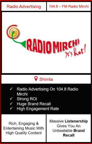 104.8 Radio Mirchi Advertising in Shimla
