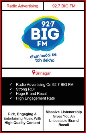 Radio Advertising in Srinagar, advertising on radio in Srinagar, radio ads in Srinagar, advertising in Srinagar, 92.7 BIG FM Advertising in Srinagar