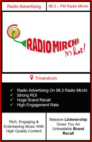 Radio Advertising in Trivandrum, Advertising on radio in Trivandrum, radio ads in Trivandrum, advertising in Trivandrum, 98.3 Radio Mirchi Advertising in Trivandrum