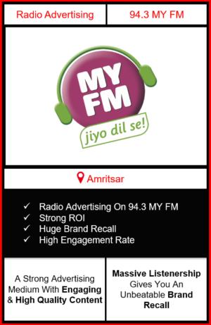Radio Advertising in Amritsar, advertising on radio in Amritsar, radio ads inAmritsar, advertising agency in Amritsar, 94.3 MY FM Radio Advertising in Amritsar