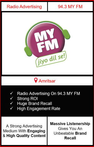 Radio Advertising in Amritsar, advertising on radio in Amritsar, radio ads inAmritsar, advertising agency in Amritsar, 94.3 MY FM Radio Advertising in Amritsar