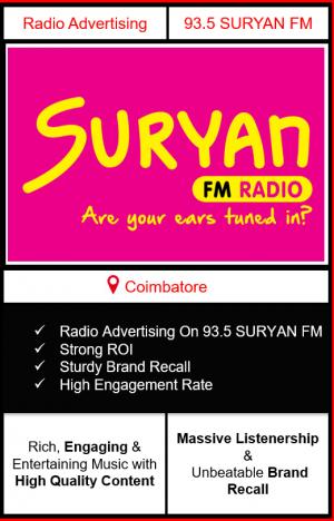 Radio Advertising in Coimbatore, advertising on radio in Coimbatore, radio ads in Coimbatore, advertising in Coimbatore, 93.5 SURYAN FM Advertising in Coimbatore