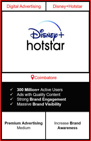 Hotstar Advertising in Coimbatore, advertising on Hotstar in Coimbatore, Hotstar ads in Coimbatore, advertising in Coimbatore, Hotstar Advertising in Coimbatore