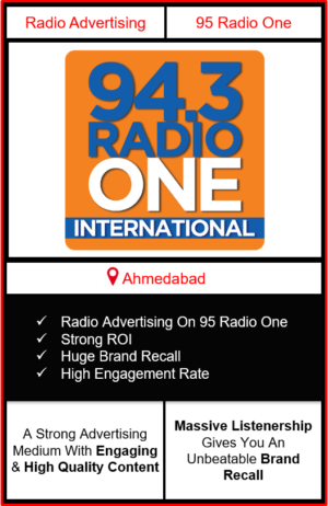 Radio Advertising in Ahmedabad, advertising on radio in Ahmedabad, radio ads in Ahmedabad, advertising in Ahmedabad, 94.3 RADIO ONE FM Advertising in Ahmedabad