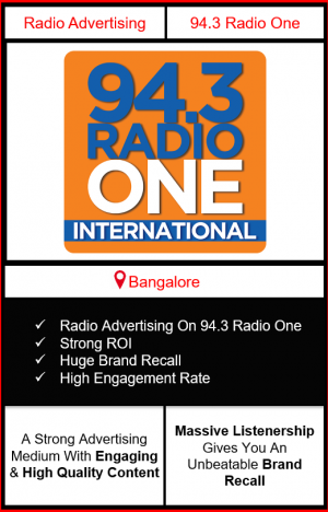 Radio Advertising in Bangalore, advertising on radio in Bangalore, radio ads in Bangalore, advertising in Bangalore, 94.3 RADIO ONE FM Advertising in Bangalore